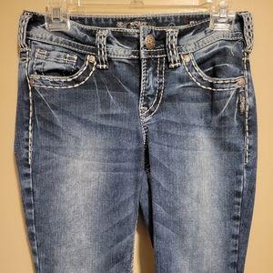 Silver Suki Mid Boot Blue Jeans Size W 27/ L 31